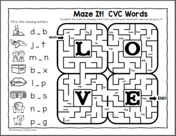 Phonics Mazes for Valentine's Day