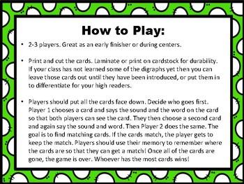 Phonics Memory Game: Common Digraphs