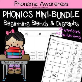 Phonics Mini Bundle: 50 Word & Picture Sorts - Beginning Blends & Digraphs