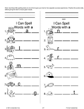 Phonics: Mini-Spelling Tests