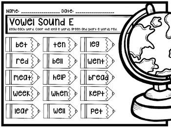Phonics Mini Unit: Short E and Long E