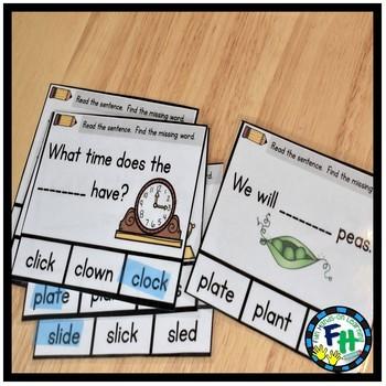 Phonics Missing Word Activity Cards (SET #1)