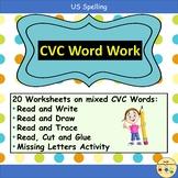 CVC Word Work Worksheets and Teacher Notes - Pre-K/K