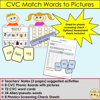 Phonics: CVC Words and Pictures, Games, Optional Phonic Assessment Sheets