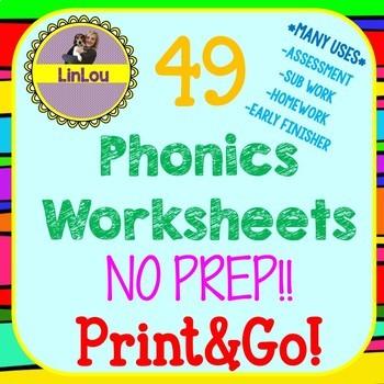 Phonics No-Prep Worksheets