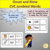 CVC Words Onset and Rime Cards with Pictures Scrambled/Jumbled Words