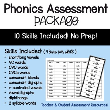 Phonics Skill Assessment Package: 8 Skill Areas!