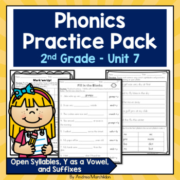 Phonics Pack Unit 7 Second Grade - Open Syllables, Y as a vowel, & Suffixes