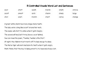 Phonics Parent Handout- R-Controlled Vowels