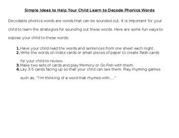 Phonics Parent Handout- Silent E Words