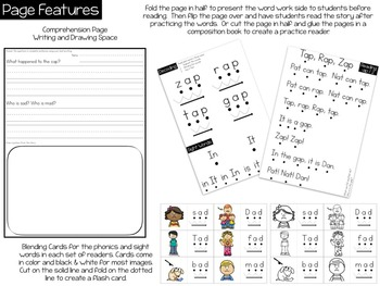 Kindergarten Phonics Reading Passages for CVC Words - Short A Word Family