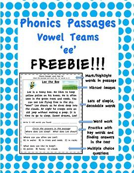 Phonics Passages: Vowel Teams Freebie