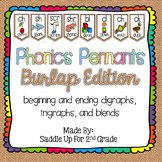 Phonics Pennants Burlap: Digraphs, Trigraphs and Blends