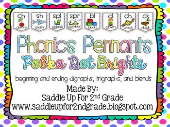 Phonics Pennants Polka Dot Brights: Digraphs, Trigraphs and Blends