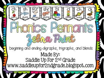 Phonics Pennants Zebra Print: Digraphs, Trigraphs and Blends