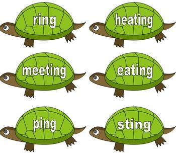 Phonics Phase 6 - ing Sorting Tortoises - Suffixes