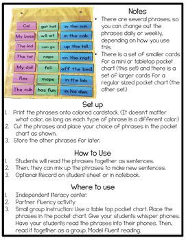 Phonics Fluency Phrases: Short Vowel CVC Edition