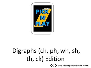 Phonics Pick n Play: Digraphs (Similar to UNO)