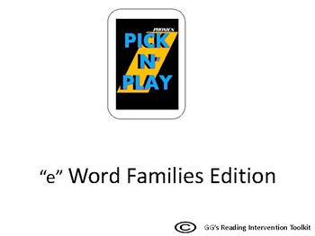 """Phonics Pick n Play: """"e"""" Word Families (Similar to UNO)"""