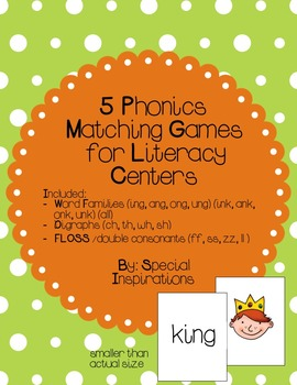 Phonics Picture Match Literacy Games and Centers (No Theme)