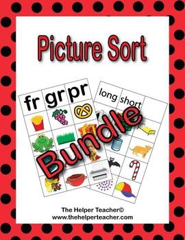 Phonics Picture Sort - BUNDLE- Beginning Sound, Blends, CVC, CVC-e, Digraphs