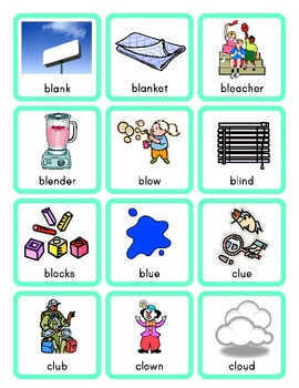 Phonics Picture Sort Cards for L Blends