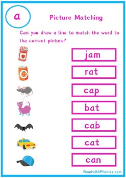 Phonics Picture and CVC Word Matching | Phonics Worksheets