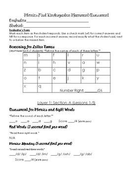 Phonics Placement Assessment