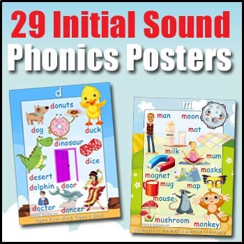 Phonics Poster Bundle - Initial Sounds - 4 Word Walls & Auditory Discrimination