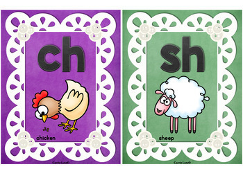Phonics Posters 10 Pastel Lace Cheerful and Colorful