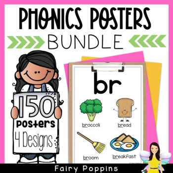 Phonics Posters Bundle - 122 Blends, Digraphs, Vowel Teams