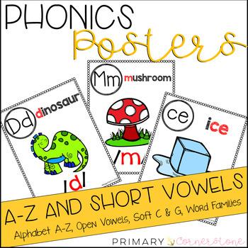 Phonics Posters: Alphabet from A-Z, Short Vowels (CVCs) an