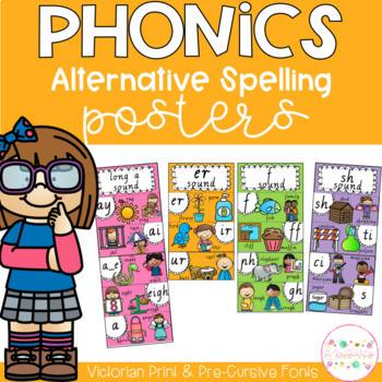 Phonics Posters Alternative Spellings - Victorian Fonts