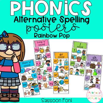 Phonics Posters Alternative Spellings - Sassoon Font RAINBOW POP