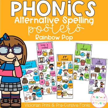 Phonics Posters Alternative Spellings - Victorian Fonts RAINBOW POP