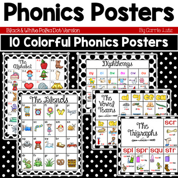 Phonics Posters (Black and White Polka Dot)
