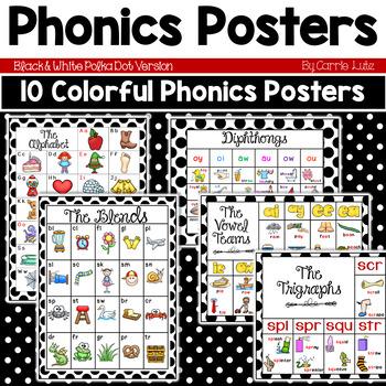 Phonics Posters (Black and White Polka Dot)