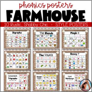 Burlap Phonics Posters Shabby Chic ~ Farmhouse Style