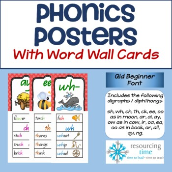Phonics Posters / Word Wall Cards (QLD Beginner Font)