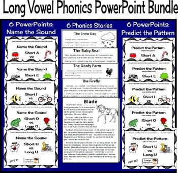 Phonics PowerPoint Lessons Short Vowels vs. Long Vowels--Bundle of 5 sets