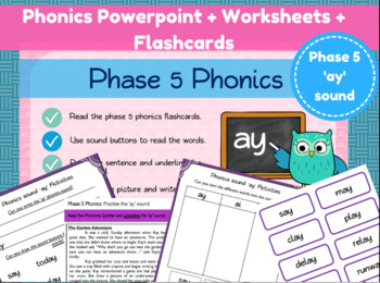 Phonics Powerpoint and Worksheets - 'ay' sound