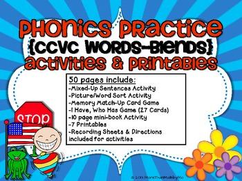Phonics Practice {CCVC Words-Blends} Activities & Printables