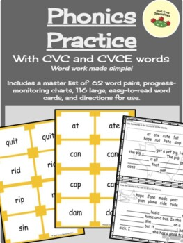 Phonics Practice / Word Work - Changing Short Vowels into Long Vowels (CVC/CVCE)