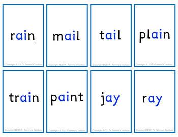 Phonics Practice Card Game with Vowel Teams, Vowel Pairs