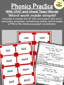 Phonics Practice - Changing CVC Words Into Vowel Team Words