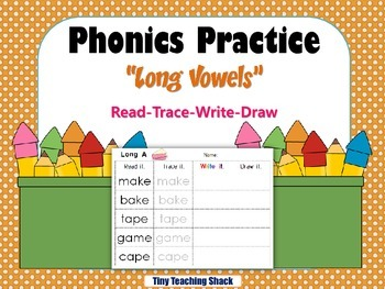 Phonics Practice Long Vowels- read, trace, write, draw