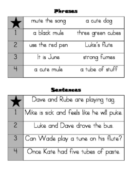Phonics Practice - Long u Magic e (CKLA First Grade Skills Unit 2 Lessons 12-15)