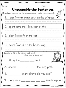 Phonics Practice Pack First Grade Unit 10 Segmenting & Blending