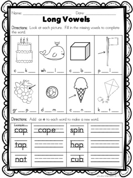 Phonics Practice Pack First Grade Unit 11 - vowel-consonant-e