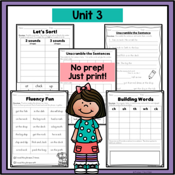 Phonics Practice Pack First Grade Unit 3 - Consonant Digraphs